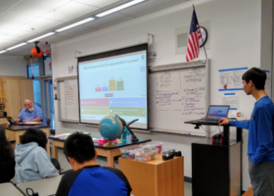 Kiran Garewal leading a game of Kahoot! during an in-person presentation.